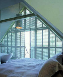 Shutters in a triangle shape